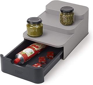 Joseph Joseph 85145 CupboardStore Compact 3 Tier Shelf Organizer with Drawer for Cabinet, Gray