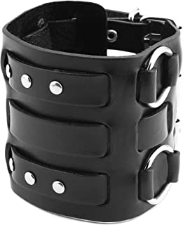 Men's Alloy Ring Genuine Leather Bracelet Bangle Cuff Silver Tone Adjustable