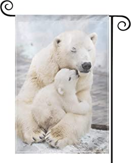 PRUNUS Cute Polar Bear Kissing Mom Garden Flag, Vertical Double Sided Premium Material Holiday Weather Resistant Decorativ...