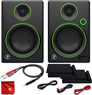 Mackie CR3 3-Inch Creative Reference Multimedia Monitors Bundle with Foam Isolation Pads and Pro Cable Kit