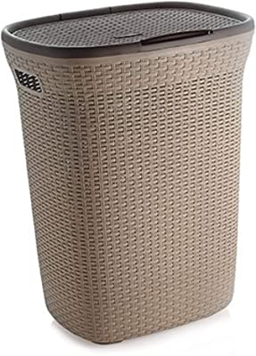 wudkraft 50 L Laundry Basket with Lid for Clothes, Big Size for Home