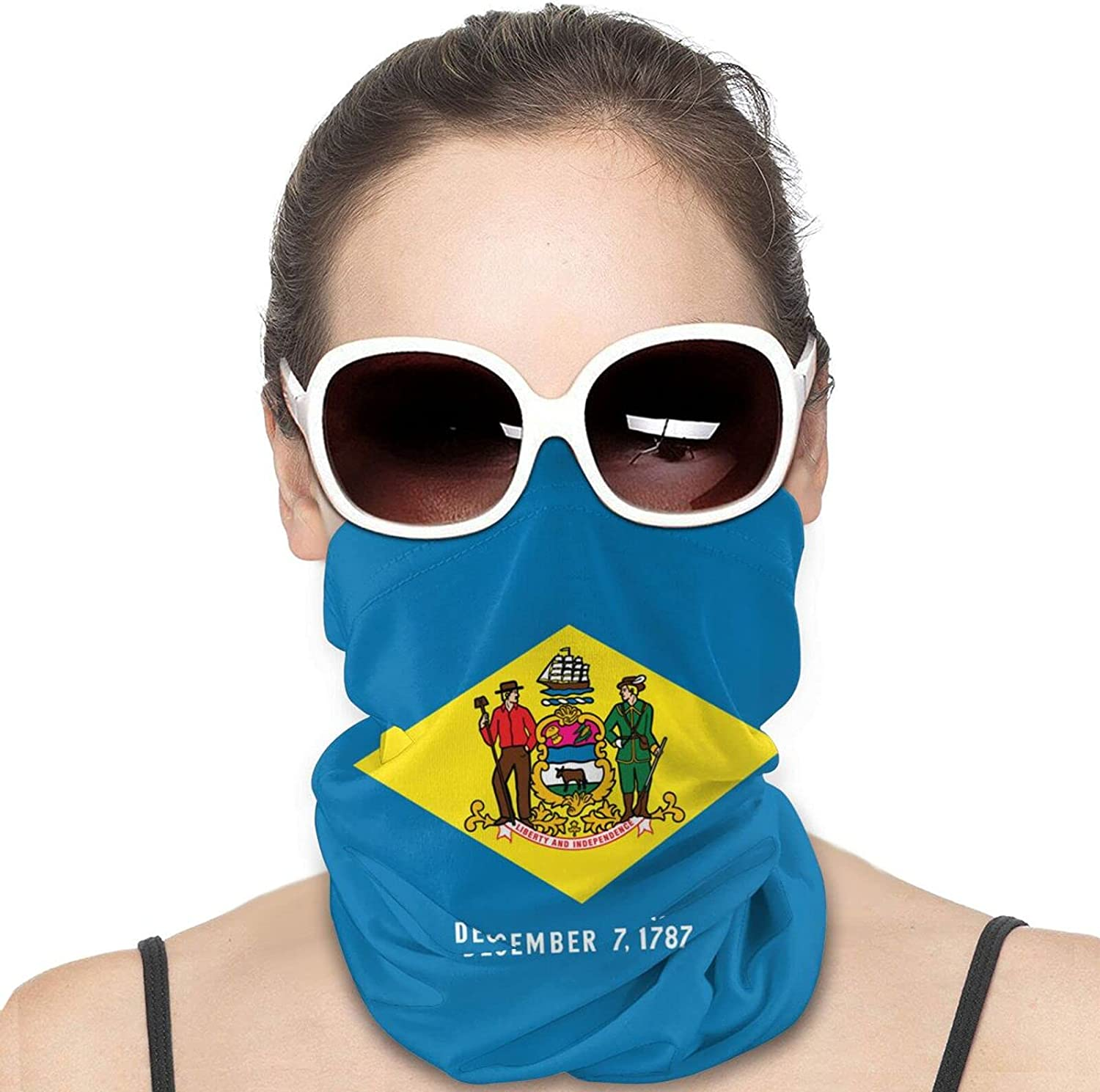 Delaware State Flag Round Neck Gaiter Bandnas Face Cover Uv Protection Prevent bask in Ice Scarf Headbands Perfect for Motorcycle Cycling Running Festival Raves Outdoors
