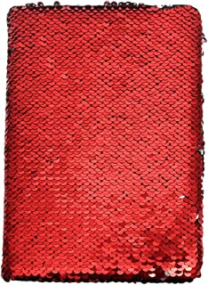 STOBOK Reversible Sequin Notebook Magic Travel Journal Diary Creative Blank Notepad Gift For Adults Kids (Red)