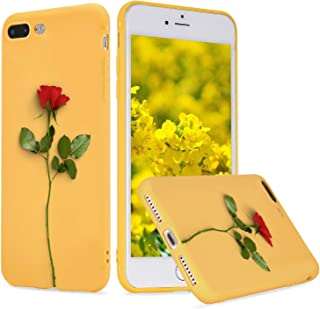 LuGeKe Red Rose Flower Phone Case Cover Slim fit Flexible Yellow Matte Phone Cover Shell for iPhone 7 Plus/iPhone 8 Plus Drop Protection Reinforced Protector