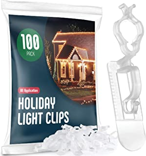 SEWANTA Holiday Light Clips [Set of 100] Christmas Light Clips for gutters and Shingles. All-Application Outdoor Light Clips, Work with C7, C9, Mini, Icicle Lights. No Tools Required - USA Made