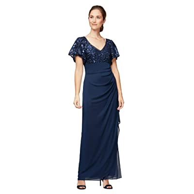 Alex Evenings Petite Long Empire Waist Dress with Embroidered Sequin Bodice (Navy) Women