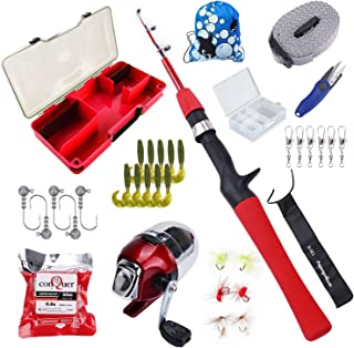 Freehawk Kids Fishing Pole with Spincast Reel, Fishing Rod Combo Full Kits, Portable Telescopic Youth Fishing Rod with Ful...