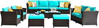 ovios Patio Furniture Set, Backyard Sofa Outdoor Furniture 12 Pcs Sets,PE Rattan Wicker sectional with 4 Pillows and 2 Piece Patio Furniture Cover, No Assembly Required (12 Piece, Blue)