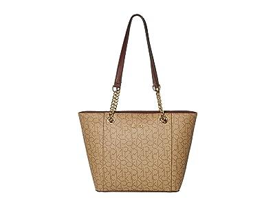 Calvin Klein Monogram East/West Tote (Merlot) Tote Handbags