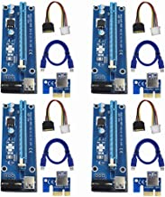 Raycity 4-Pack PCI-E PCI Express VER 006 16x to 1x Powered Riser Adapter Card w/ 60cm USB 3.0 Extension Cable & 4-Pin MOLEX to SATA Power Cable GPU Riser Adapter - Ethereum Mining ETH
