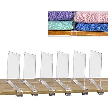 SWAWIS Lot de 6 séparateurs d'étagère, séparateurs d'étagère d'armoire, séparateurs de système d'armoire, système d'étagère sans perçage, système d'organisation d'étagère d'armoire