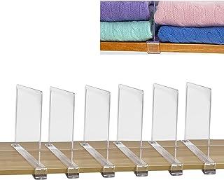 SWAWIS Lot de 6 séparateurs d'étagère, séparateurs d'étagère d'armoire, séparateurs de système d'armoire, système d'étagèr...