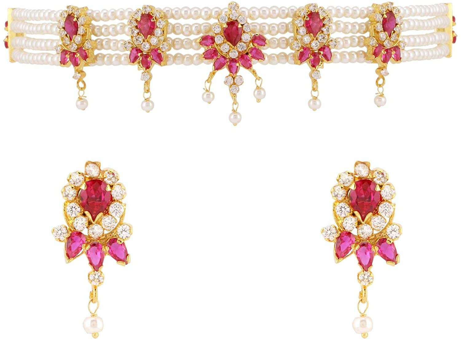 Efulgenz Indian Jewelry Set CZ Cubic Zirconia Faux Pearl Multicolor Layered Strand Beaded Choker Necklace Earrings Set