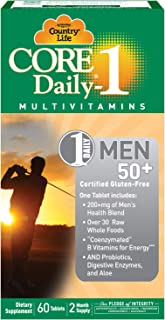 Country Life Core Daily-1 Mens 50 Plus, Multivitamin with Coenzymated B Vitamins for Energy, Healthy Aging, Over 30 Raw Whole Foods, 60 Tablets