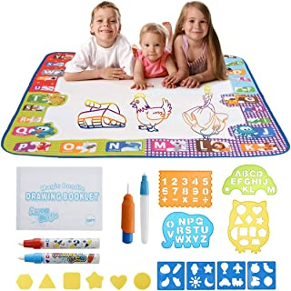 Rodri Essentials Water Doodle Mat, Kids Large Aqua Coloring Mat, Mess-Free Drawing Mat with Neon Colors, Educational Toy for 2, 3, 4, 5, 6, 7, 8 Years Old Kids, Toddlers, Boys, Girls