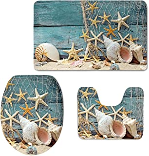 HUGS IDEA Seashell Pattern 3 Piece Bathroom Rug Set Inculded Toilet Seat Cover Bath Mat Lid Toilet Cover