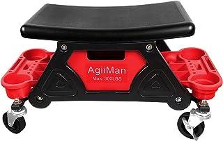 AgiiMan Rolling Mechanic Stool - Detailing Garage Roller Stool Chair, Creeper Seat Repair Tools Tray, 2 Tool Storage Drawe...