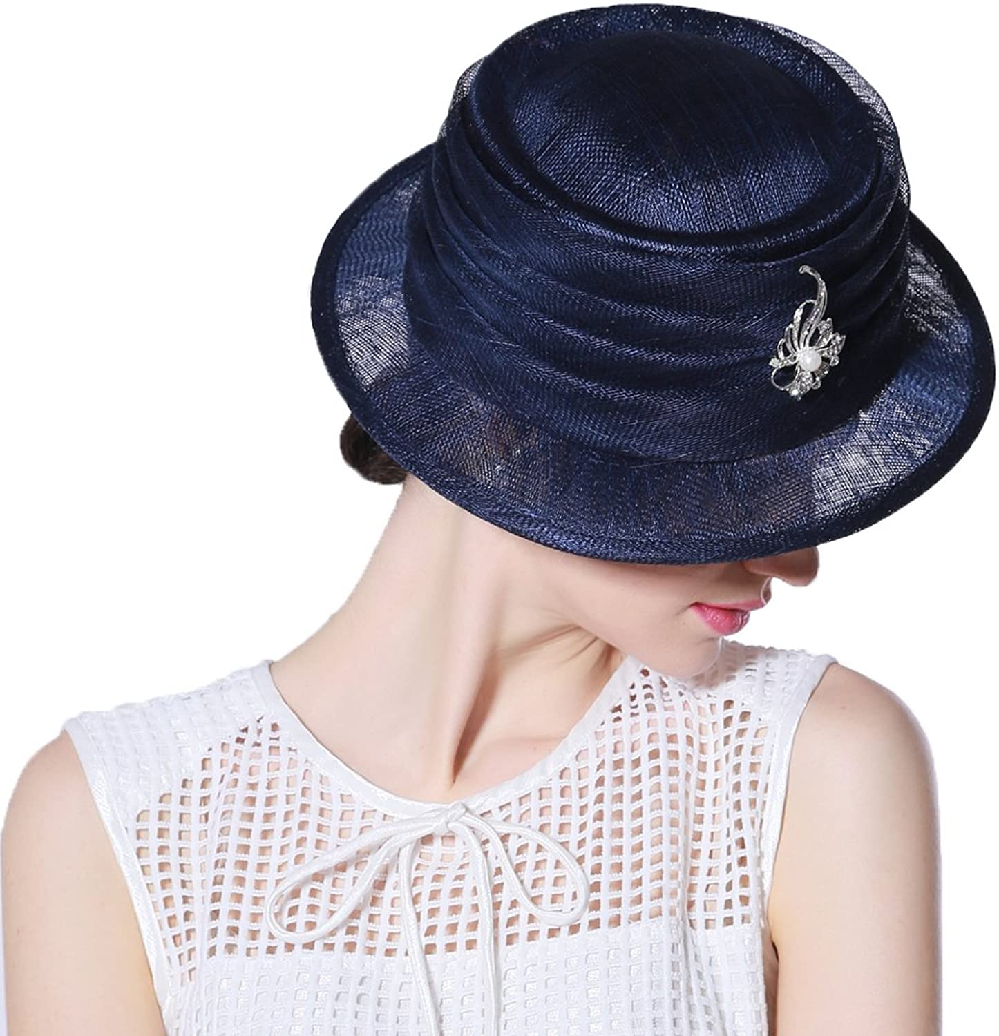 June's Young Summer Hats Sinamay Hats for Women 100% Sinamay Navy bluee color Fedoras