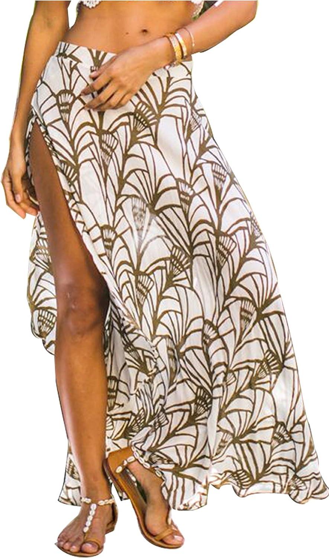 Lemon Women's Ethnic Print Maxi Skirt Wrapped Beach Cover Up Dress
