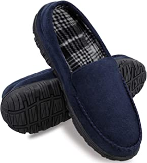 Mens Slippers Moccasin Slipper House Shoes for Men with Anti-Skid Rubber Sole Indoor/Outdoor