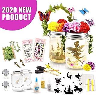 Seckton Fairy Lantern Craft Kit for Kids, Starry Fairy String Lights Art Crafts, First DIY Mason Jar Set for Little Princess to Build Their Own Fairy Garden, Best Birthday Gift for Girls Ages 4-12