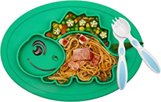 Silicone Divided Toddler Plates - Portable Non Slip Suction Plates for Children Babies and Kids BPA Free FDA Approved Baby Dinner Plate (Dinosaur-Turquoise)