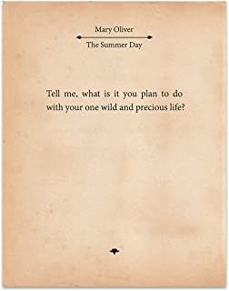 Mary Oliver- The Summer Day - 11x14 Unframed Typography Book Page Print - Great Gift for Book Lovers