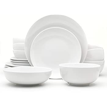 Euro Ceramica Essential Collection Porcelain Dinnerware and Serveware, 16 Piece Set, Service for 4, Inverted Rim Design, Classic White