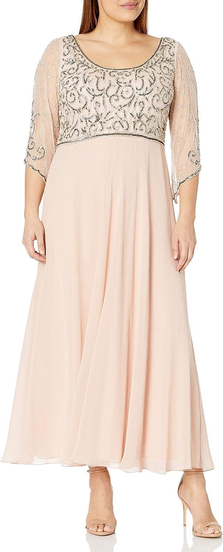 J Kara Women's Plus Size 3/4 Sleeve V-Neck Beaded Top Long Gown