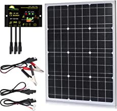 SUNER POWER 50 Watts Mono Crystalline 12V Off Grid Solar Panel Kit - Waterproof 50W Solar Panel + Photocell 10A Solar Charge Controller with Work Time Setting + SAE Connection Cable Kits