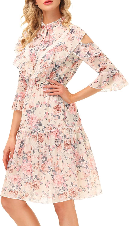 Women's Cold Shoulder Dress 3/4 Sleeve V Neck Floral Chiffon Dress