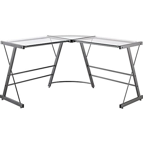 Amazon Com Ameriwood Home Odin Glass L Shaped Computer Desk Gray Furniture Decor
