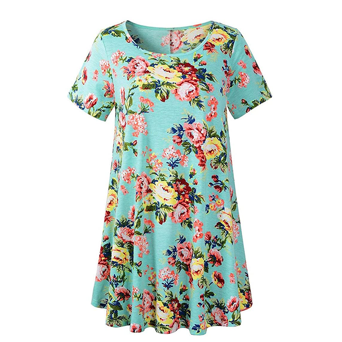 HAALIFE??Women's Plus Size Swing Tunic Top 3/4 Sleeve Floral Flare T-Shirt