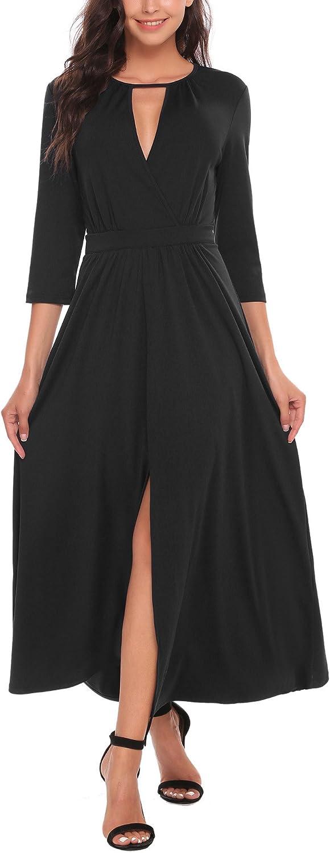 BEAUTYTALK Womens Casual 3 4 Sleeve Hollowed Maxi Long Dress