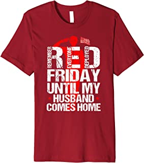 Red Friday Military Veteran Remember Deployed Husband Gifts Premium T-Shirt