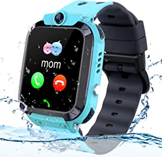 Themoemoe Kids GPS Tracker Watch, Kids Smartwatch IP68 Waterproof With GPS Tracker Phone Alarm Clock Game Camera Compatible with 2G T-mobile Birthday Gift for Kids(S12B-Blue)