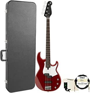 Yamaha BB234 BB-Series 4-String Bass Guitar with Hard Case and Accessories, Raspberry Red