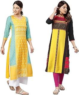 Vaamsi Women's Crepe a-line Kurta (Pack of 2)