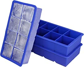 Freshware FI-112PK 8-Cavity Flexible Silicone Large Ice Cube Trays, 2-inch Cubes for Slow Melt and Less Drink Dilution (2 ...