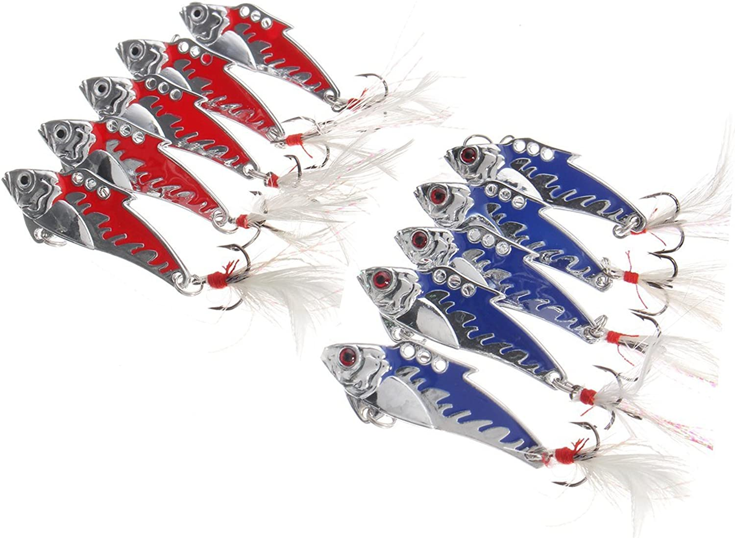 GEOPONICS 10pcs 5cm 8.2g Metal VIB Fishing Lure Crankbait HardTreble s