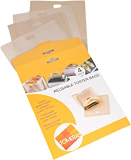 Non Stick Toaster Bags Reusable - Gluten Free Heat Resistant Easy to Clean Perfect for Sandwiches Pizza Slices Chicken Nuggets Panini Vegetables