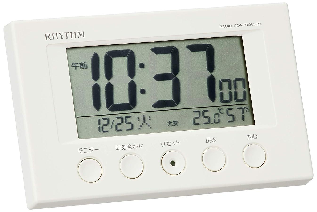 第二に家パニック目覚まし時計 電波時計 温度計?湿度計付き フィットウェーブスマート 白 リズム時計 8RZ166SR03