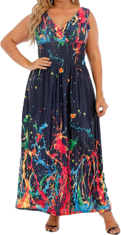 TianmeiHeyi Women's Plus Size Deep V-Neck Sleeveless High Waist Printed Graffiti Party Loose wrap Maxi Dress 1X-5X