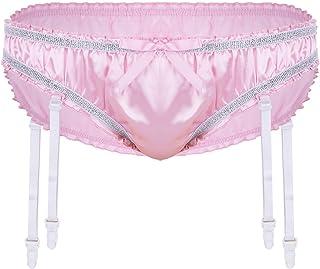 Oyolan Men's Shiny Satin Bikini Briefs Sissy Pouch Panties Ruffled Underwear with Garter Belts