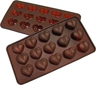 Silicone Heart Mold Shaped BY Craviy, -Set of 2- Silicone Chocolate Molds, Candy, Jelly, Heart Shaped Ice Cube, Soap,