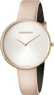 Calvin Klein Women's Stainless Steel Quartz Watch with Leather Strap, Beige, 16 (Model: K8Y236Z6)