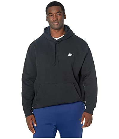Nike Big Tall NSW Club Hoodie Pullover (Black/Black/White) Men