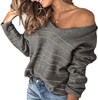 Womens Pullover Warm Casual V Neck Long Sleeve Loose Stripe Knitted Jumper Sweater
