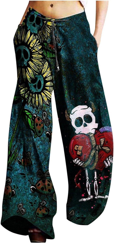 Washington Mall KHFU Finally popular brand Yoga Pants for Women Halloween Dra Leg Printed Wide Bohemia