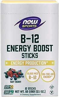 Now Foods Sports Nutrition, B-12 Energy Boost Sticks, 10,000 mcg, On-The-Go-Energy*, Energy Production*, 12-Sticks